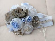 Rustic Bride Bouquet Wedding Flowers Crepe Paper by moniaflowers