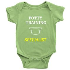 """Funny Unique New Born Baby Onesies for 0-24Mths Sayings """"Potty Training Specialist"""""""