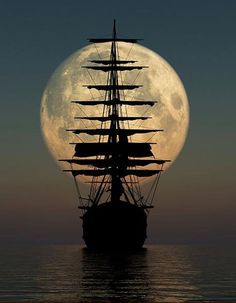 The sailing ship in full moon