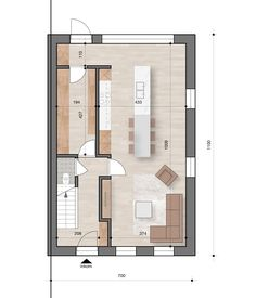 Loft Floor Plans, Apartment Floor Plans, Master Bedroom Design, Interior Design Living Room, Best Modern House Design, Narrow House Plans, Small Loft, Small Apartments, Planer