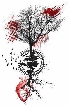 Trash Polka Tree Tattoo Design A great sketch of the trash polka tattoo, that images … Bild Tattoos, New Tattoos, Body Art Tattoos, Tattoos For Guys, Tatoos, Chest Tattoo, Arm Tattoo, Sleeve Tattoos, Deer Tattoo
