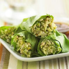 Asian Chicken Lettuce Wraps: This restaurant favorite is ideal for lunchtime and a cinch to recreate at home. Combine chopped chicken with green pepper, cabbage, and an Asian dressing, and then spoon into lettuce leaves when it's time to eat!
