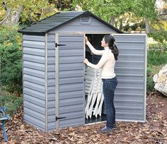 The Anthracite Grey 6' wide by 3' deep Skylight Shed by Palram still provides that much-needed storage space even if you only have a thin area to install a shed on.