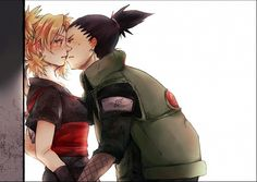 This must be a first kiss because they're so awkward and wonderful. ShikaTema #naruto