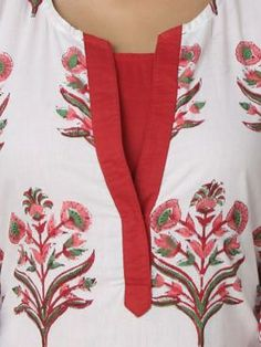 Red-Off White Cotton Kurta