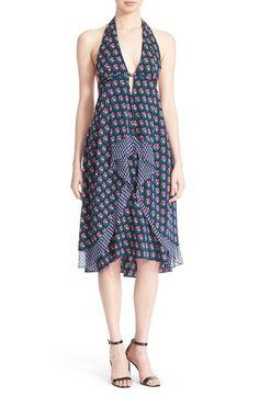 DIANE VON FURSTENBERG 'Leyland' Floral Print Silk Halter Dress. #dianevonfurstenberg #cloth #