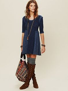 Tail boots and socks pair well with this dress for fall. http://www.freepeople.com/whats-new/good-morning-sunshine-dress/