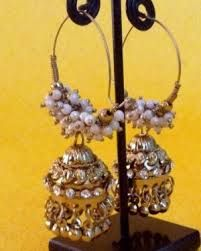 gold jhumka hoop earrings