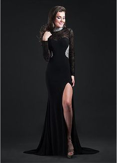 Chic Lace & Spandex High Collar Neckline Sheath Evening Dresses With Beads & Rhinestones