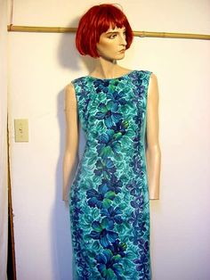 Vintage Hawaiian Tropical Dress with Train Size 4 60s by BrickCity, $48.00