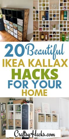 These ikea hackers are the very best - transform your ikea kallax shelves and have fun doing it. These ikea kallax ideas are beautiful. #ikea #ikeahacks #ikeakallax Ikea Kallax 4x4, Ikea Kallax Shelving, Ikea Kallax Regal, Ikea Shelves, Kallax Ideas, Kallax Hacks, Ikea Hacks, Hacks Diy, Diy Storage Desk