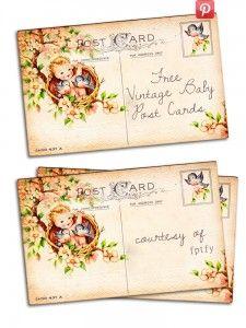 vintage baby postcard printable