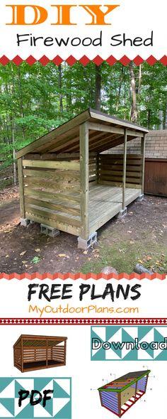 This step by step diy project is about firewood shed plans. If you want to store 3 chord of wood in a proper manner, you need to take a look over these plans. This wood shed has lean to roof and a sturdy frame. Firewood Shed, Firewood Storage, Shed Storage, Storage Ideas, Garage Velo, Shed Construction, Build Your Own Shed, Backyard Sheds, Outdoor Sheds