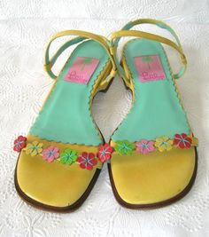 LILLY PULITZER Floral Sandals Shoes Women's Size 6.5 M Italy  #LillyPulitzer #Strappy