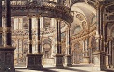 Giuseppe Galli Bibiena, A Circular Courtyard And Colonnade: Design For The Stage Renaissance Architecture, Baroque Architecture, Architecture Drawings, Classical Architecture, Historical Architecture, Architecture Plan, Architecture Details, Dream Mansion, Perspective Drawing