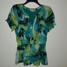 """Worthington Sheer Top Blouse Swirls of greens, yellows and black make this blouse Pop! Sheer, but lined. Elastic rutching at sleeve and waist. Button down front. Has a peplum look to it. Measures 26""""from shoulder to hem. Measures 15""""across at the chest. Size Medium. Worthington  Tops Button Down Shirts"""
