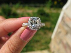 1.50 carat august vintage cushion diamond engagement ring