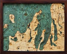 Grand Traverse Bay, Michigan - Large Wood Map
