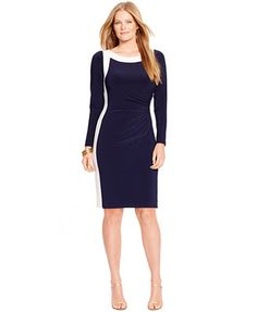 Lauren Ralph Lauren Plus Size Two-Tone Boat-Neck Dress