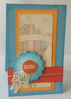 """Scrapbooking Sue: Tall and Skinny """"Smile"""" card with Close To My Heart (CTMH) Balloon Ride papers and stamps.  www.scrapbookingsue.blogspot.com"""