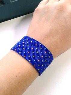 Bright Blue Beaded Cuff by NinaRaizel on Etsy, $35.00