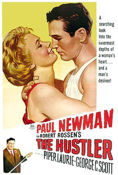"""""""The Hustler"""" directed by Robert Rossen. Starring Paul Newman with Piper Laurie, George C. Scott and Jackie Gleason. 1961 Movies, Old Movies, Vintage Movies, Old Movie Posters, Cinema Posters, Film Posters, Vintage Posters, Love Movie, Movie Tv"""