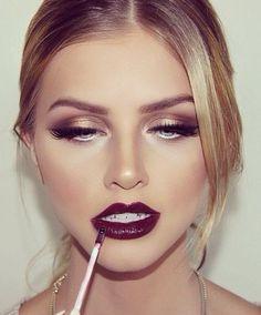 #makeup burgundy lip gloss. lashes. gold #eyeshadow .