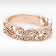 rose gold infinity ring   Rose Gold Floral Eternity Ring with Diamonds - Modern