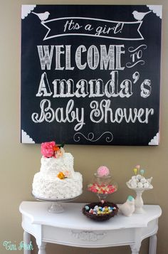 Love this baby shower chalkboard dessert table backdrop! See more baby shower party ideas at CatchMyParty.com. #babyshower #babyshowerdecorations