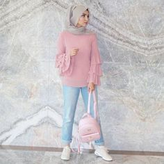 Cute hijab outfits in light blue color – Just Trendy Girls