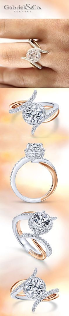 Gabriel & Co. - Embrace your timeless round-cut stone with 14k white gold diamonds and pink gold strands.