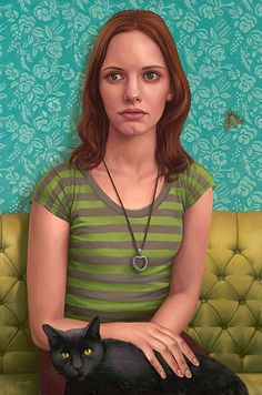 """""""Sphinx"""" - Alex Gross, oil on canvas, 2009 {redhead female with black cat seated woman portrait painting} alexgross.com"""