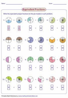 Writing Equivalent Fractions Using Pie Model                                                                                                                                                                                 More