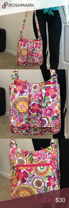 "Vera Bradley Crossbody Purse Pink ""Clementine""  Vera Bradley Crossbody Purse Pink with flowers ""Clementine""  zipped closure purse.  With large compartment flap magnetic closure and small compartment in front of bag. Zipped closure compartment in back. Has two compartments inside. In awesome condition beautiful purse. 12.5in H by 13in L by 4in W Vera Bradley Bags Crossbody Bags"