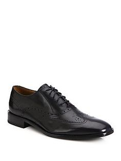 Saks Fifth Avenue Collection Kilgore Wing Leather Oxfords - Black - Si