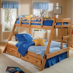 Savannah A-Frame Twin over Full Bunk Bed - Simple lines and the solid pine construction of the Savannah A-Frame Bunk Bed makes this twin-over-full bunk bed a handsome addition to your child's r...