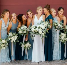 Oct 2019 - Jenny Yoo Bridesmaids in gorgeous shades of deep and light blues in sultry crepe and flows chiffon fabrications. These long bridal party dresses in unique shades of blue and subtle and soft prints could be worn as wedding guest dresses too! Light Blue Bridesmaid Dresses, Dusty Blue Bridesmaid Dresses, Wedding Bridesmaids, Wedding Ceremony Ideas, Blue Bridal, Chiffon, Wedding Colors, Blue Wedding, Summer Wedding