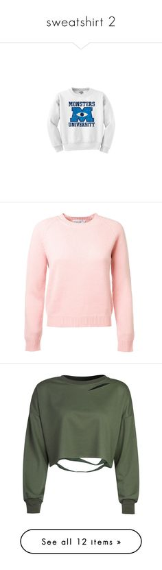 """""""sweatshirt 2"""" by glitterxbieber on Polyvore featuring tops, hoodies, sweatshirts, sweaters, shirts, shirt top, pink, ribbed sweater, long sleeve sweater and pure cashmere sweaters"""