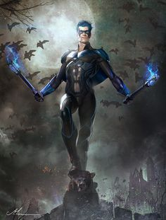 quarkmaster:    Homage to 90's Nightwing Nightwing Redesign–Homage to 90's Nightwing, Grayson, Issue #1. Model was done in zbrush, then brought it into photoshop for painting, photobashing and background.   Abraham Lee
