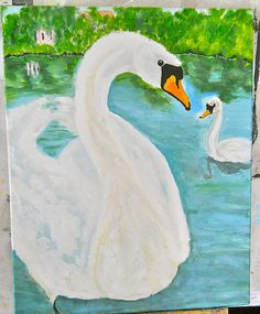 Majestic Swans,an acrylic of mute swans by Kat Mereand | Flickr - Photo Sharing!