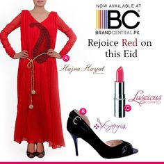 Look hot wear combo of Red and Black a) Shop Hajra Hayat--->http://www.brandcentral.pk/red-crushed b) Shop Insignia--->http://www.brandcentral.pk/red-crushed c) Shop Luscious Cosmetics--->http://www.brandcentral.pk/luscious-cosmetics