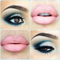 Blue eyeshadow with pink lips  Hey girl hey do you want to learn how to be more fab, fierce and free?  Follow my blog to learn fun fab tips and strategies @ http://fabfiercefreedom.com/