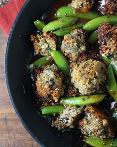 "Eggplant ""Meat""Balls and Sugar Snap Peas in a Toasted Sesame Sauce"