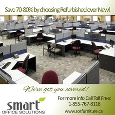 Our corporate ambition is to raise awareness about the benefits of choosing re-manufactured #workstations over purchasing brand new. *Save yourself 70-80%!* Call us Toll Free anytime: 1-855-767-8118 www.sosfurniture.ca