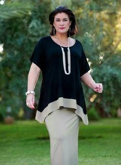 Kasbah black/taupe jersey stripe dress at Box 2 Plus Size Tops, Plus Size Women, Traje Casual, Casual Wear, Plus Size Sewing, Mode Hijab, Stylish Dresses, Dressy Dresses, Formal Dress