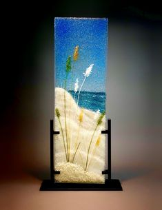 """Cape Cod Sand Dunes"" Glass Frit Painting by Diane Quarles"