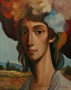 "DiegoVoci™  ""Jeune fille avec chapeau fleurs"", 291-921, 50cm x 40cm now owned by Susan Max is daughter of Wendy and Stephen Max from Canada represented Diego exclusively there from 1981-1985. https://diegovociproject.wordpress.com/2016/03/08/new-generations-love-diegovoci/"