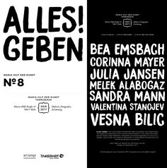 Invitation / Einladung Alles! Geben 29.09.2017 - 24.12.2017 Vernissage: 29.09.2017, 18:00 Uhr art tempi communications gmbh & TAKEPART Media & Science GmbH Maria-Hilf-Str. 15 50677 Köln, Germany