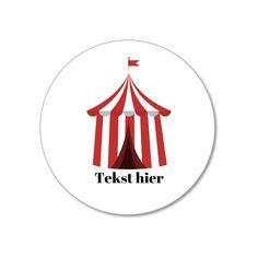 Stickers met circus tent opdruk om zelf traktaties te maken - Hieppp Circus Carnival Party, Atari Logo, Om, Stickers, Logos, Logo, Decals