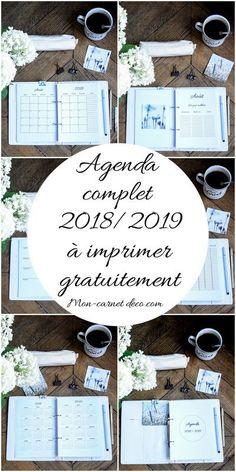 agenda 2018 2019 à imprimer gratuitement bullet journal ou planner - Planner 2018, Agenda Planner, Happy Planner, Planner Journal, Diy Agenda, Filofax, Planner Organisation, Organization Bullet Journal, Bullet Journal 2019